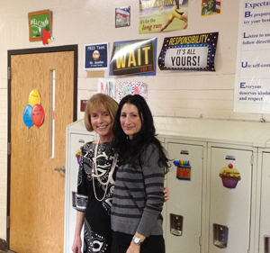 Principal Pamela Baim and Vice-Principal Dena Mortensen outside a third grade classroom at F.J. Kingsbury Elementary School in Waterbury