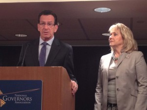 Connecticut Governor Dannel Malloy and Oklahoma Governor Mary Fallin in Stamford on Tuesday