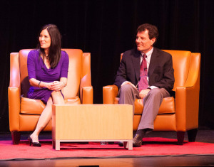 "Sheryl WuDunn and Nicholas Kristof at WSHU's ""Join the Conversation"" event in Fairfield on Friday."
