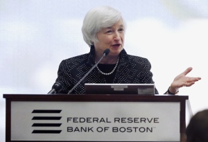 Federal Reserve Chairman Janet Yellen speaks during a conference on economic opportunity at the Federal Reserve Bank in Boston, Friday, Oct. 17, 2014. Yellen said that the last several decades have seen the most sustained rise in income inequality in a century. (AP Photo/Michael Dwyer)