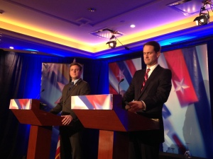 Republican Dan Debicella (left) and Democratic Congressman Jim Himes at a debate in Norwalk